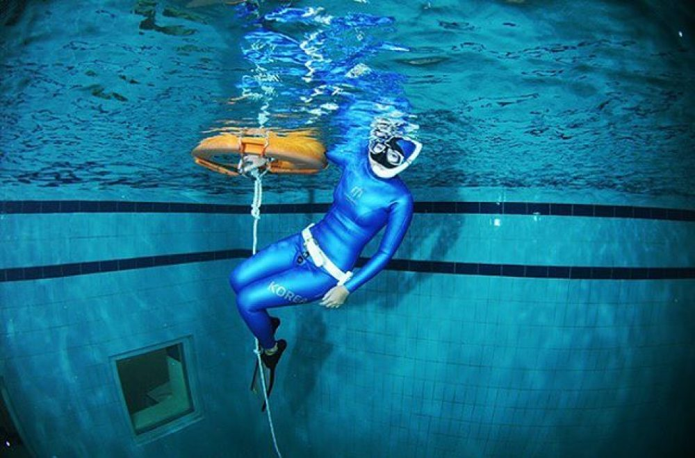 blue freediving wetsuit